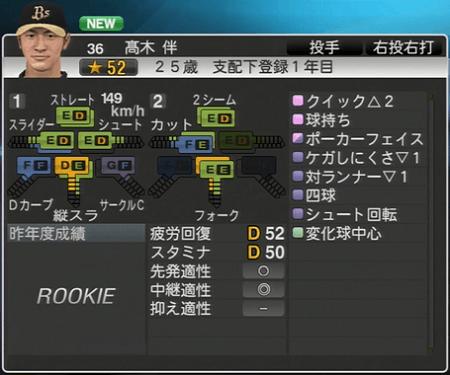 髙木 伴 プロ野球スピリッツ2015 ver1.06