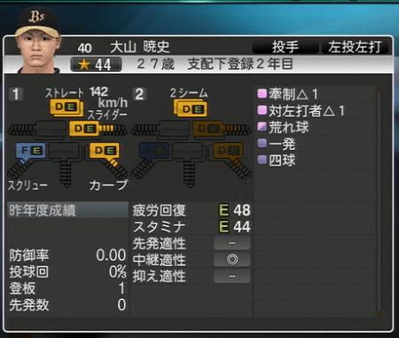 大山 暁史 プロ野球スピリッツ2015 ver1.06