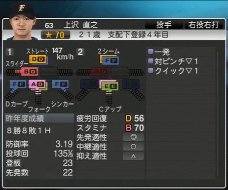 上沢 直之 プロ野球スピリッツ2015 ver1.06