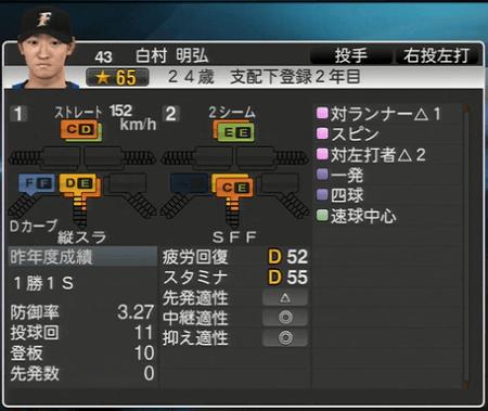 白村 明弘 プロ野球ス  ピリッツ2015 ver1.06
