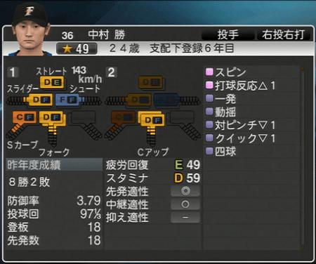 中村 勝 プロ野球ス  ピリッツ2015 ver1.06