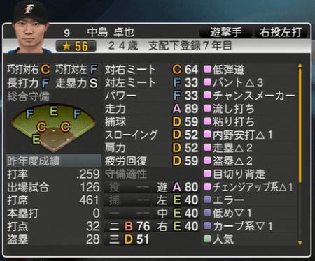中島 卓也 プロ野球スピリッツ2015 ver1.06