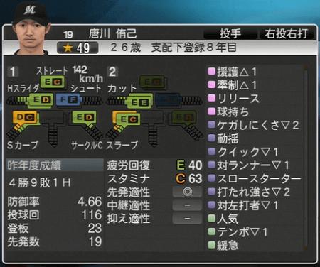 唐川 侑己 プロ野球スピリッツ2015 ver1.06