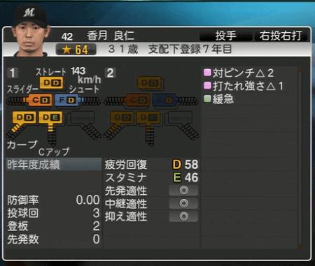 香月 良仁 プロ野球スピリッツ2015 ver1.06