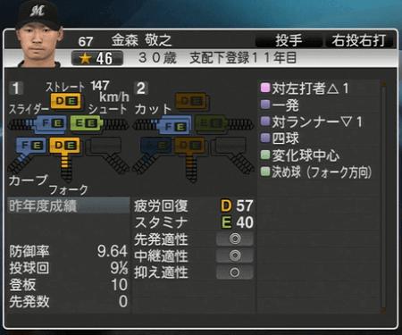 金森 敬之 プロ野球スピリッツ2015 ver1.06