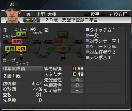 上野 大樹 プロ野球スピリッツ2015 ver1.06