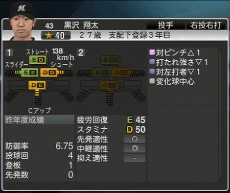 黒沢 翔太 プロ野球スピリッツ2015 ver1.06