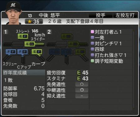 中後 悠平 プロ野球スピリッツ2015 ver1.06