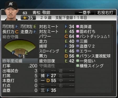 青松 敬鎔 プロ野球スピリッツ2015 ver1.06