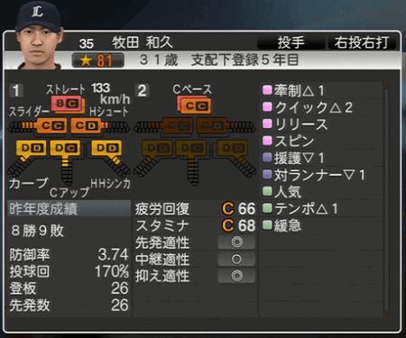 牧田 和久 プロ野球スピリッツ2015 ver1.06