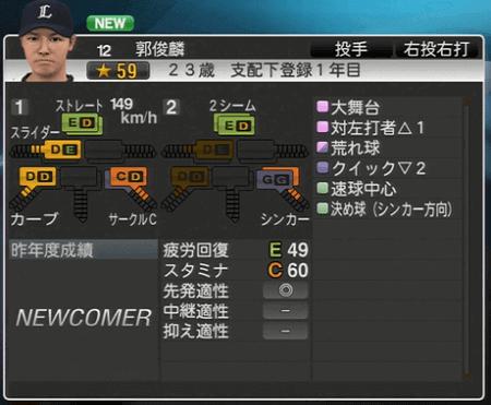 郭 俊麟 プロ野球スピリッツ2015 ver1.06