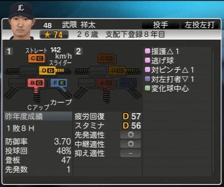武隈 祥太 プロ野球スピリッツ2015 ver1.06
