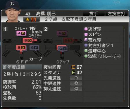 髙橋 朋己 プロ野球スピリッツ2015 ver1.06
