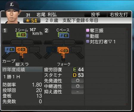 岩尾 利弘 プロ野球スピリッツ2015 ver1.06