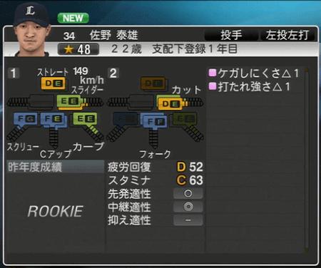 佐野 泰雄 プロ野球スピリッツ2015 ver1.06