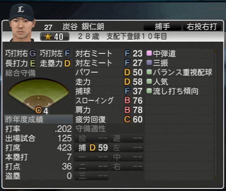 炭谷 銀仁朗 プロ野球スピリッツ2015 ver1.06