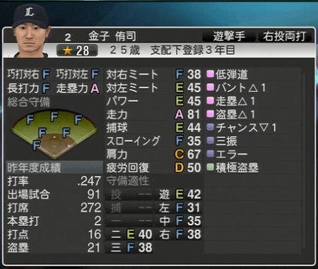 金子 侑司 プロ野球スピリッツ2015 ver1.06
