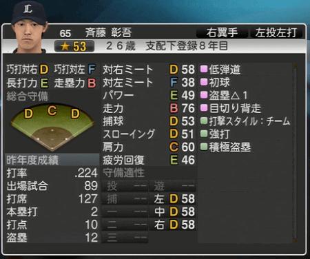 斉藤 彰吾 プロ野球スピリッツ2015 ver1.06