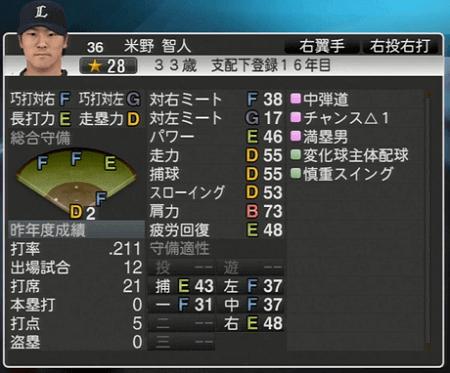 米野 智人 プロ野球スピリッツ2015 ver1.06