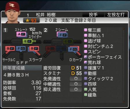 松井 裕樹 プロ野球スピリッツ2015 ver1.06