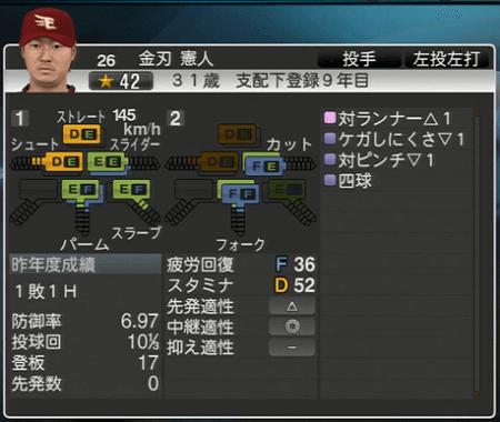 金刃 憲人 プロ野球スピリッツ2015 ver1.06