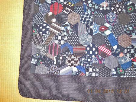 六角形 絣 縞木綿多拡大
