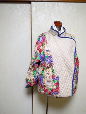 キルティングジャケット裏ウール花柄