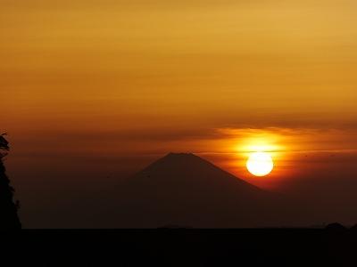 房総勝山から富士山と夕日