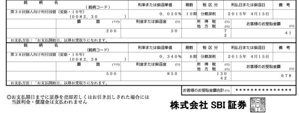 個人向け国債 利金1