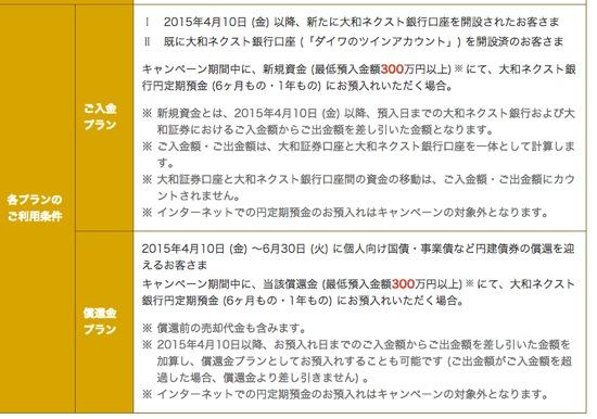 大和ネクスト銀行開業4周年記念キャンペーン 適用条件など