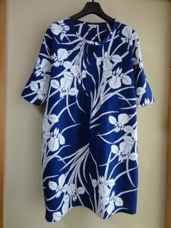 藍染菖蒲浴衣ラグランチュニックop