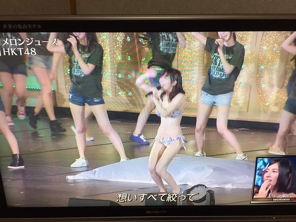 HKT48全国ツアーでAKB48選抜総選挙の公約通り水着でライブを行った指原莉乃、胸から異物ポロリしてる