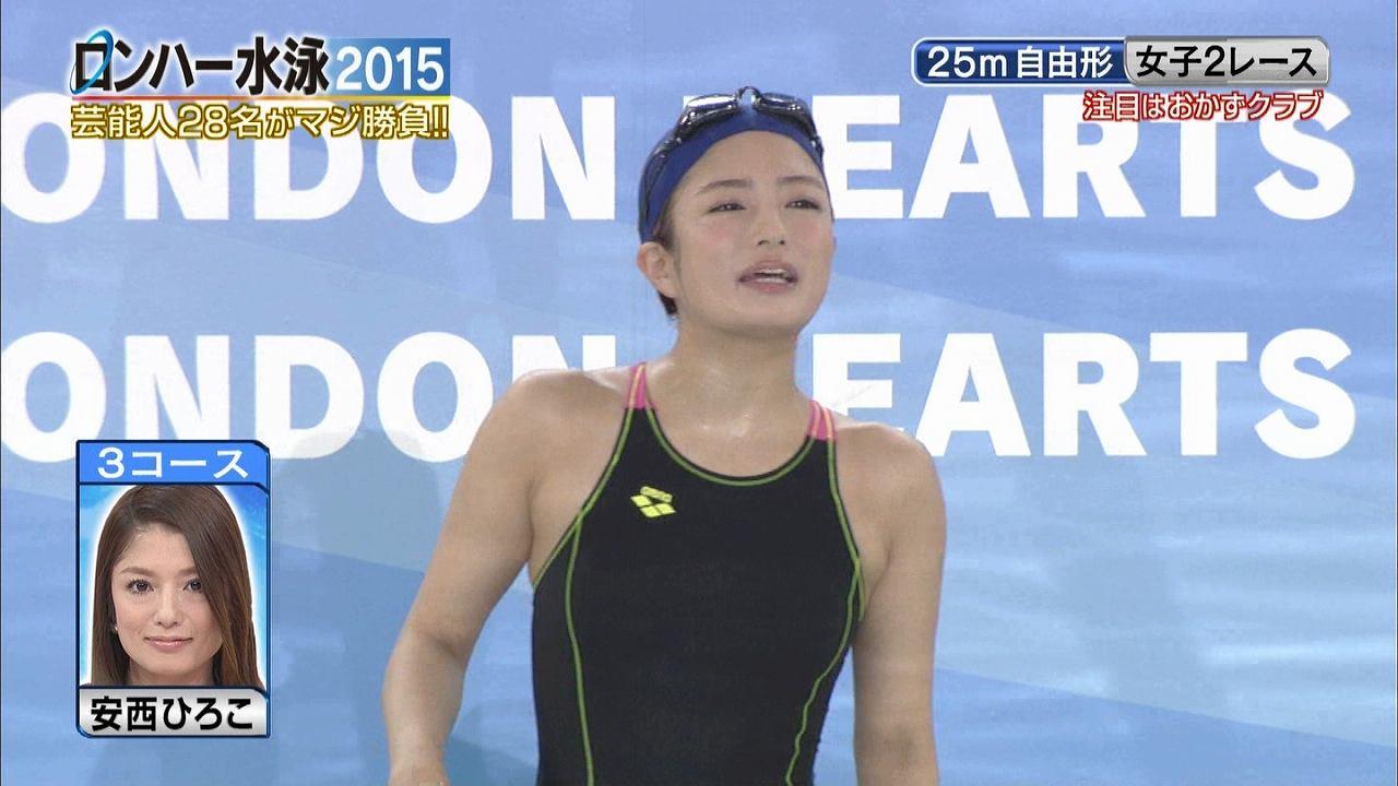 テレ朝「ロンハー水泳2015」で競泳水着を着た安西ひろこ