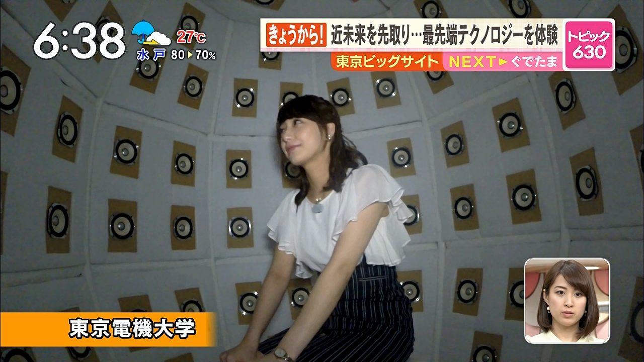 TBS「あさチャン」で東京ビッグサイトを取材する宇垣美里アナ