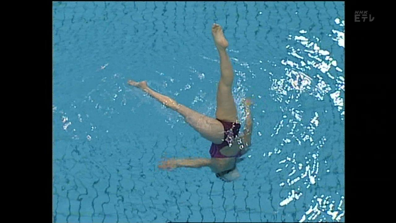 教育テレビ「水泳・シンクロの基本(テレビスポーツ教室)」、水中から撮ったシンクロナイズドスイミング