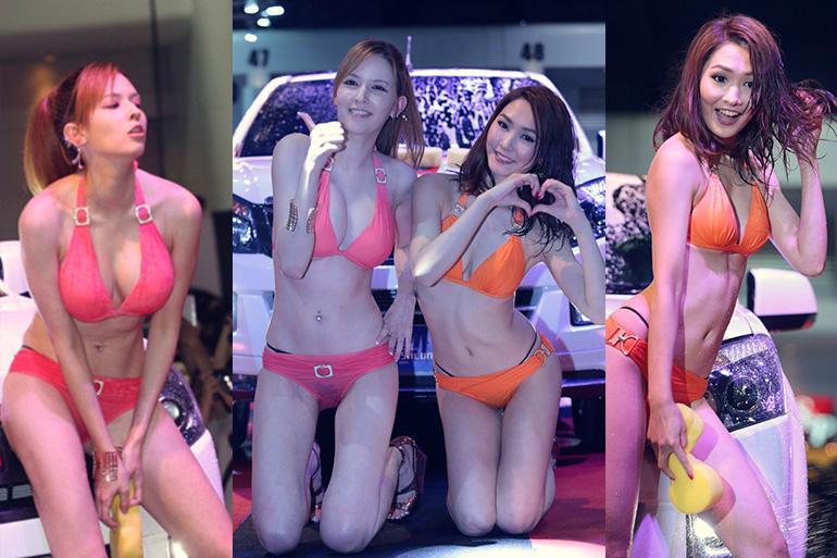 水咲ローラ&水沢のの タイでセクシーカーウォッシュ!