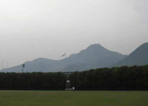 普賢岳と2ショット。