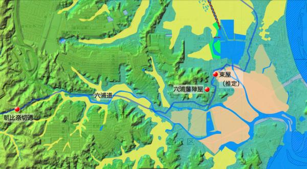 「玉匣両温泉路記」鎌倉→金沢の道筋