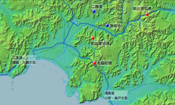 「武甲相州回歴日誌」鎌倉関連図