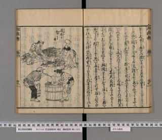 広益国産考巻4「蕨」より「蕨粉を製する図」