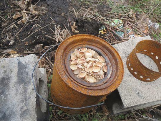 ウッドガスストーブによる木片の処理