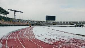 雪に覆われている競技場