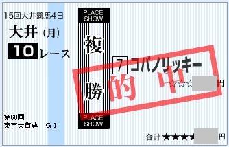 2014 東京大賞典 複勝