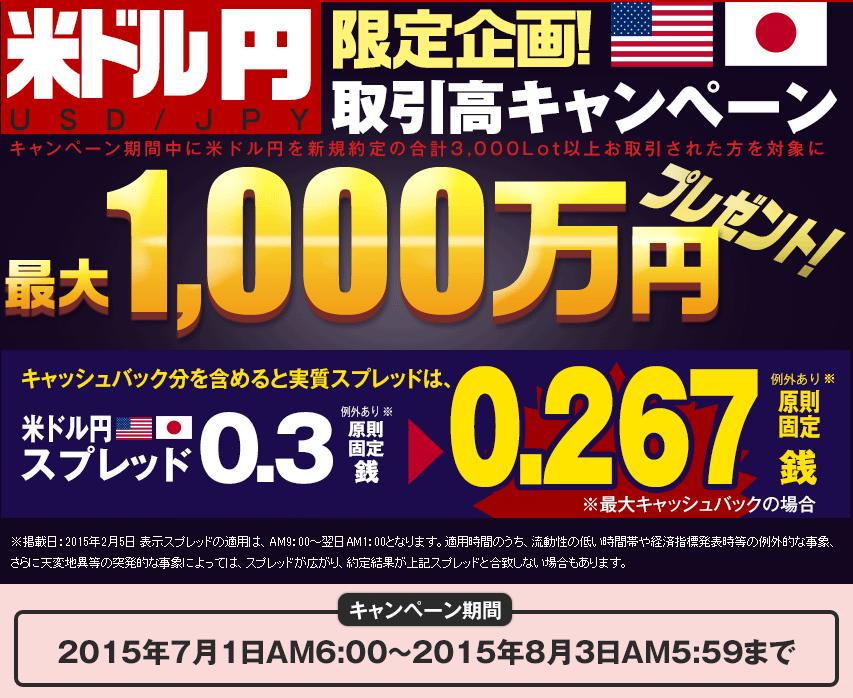 米ドル円取引高キャンペーン