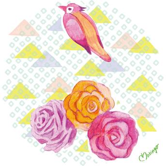鳥-3個バラ2