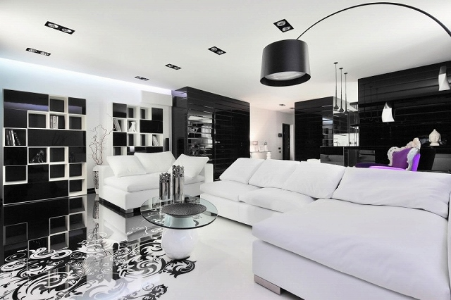 Amazing-black-and-white-living-room-with-lone-purple-chair-in-the-backdrop.jpg