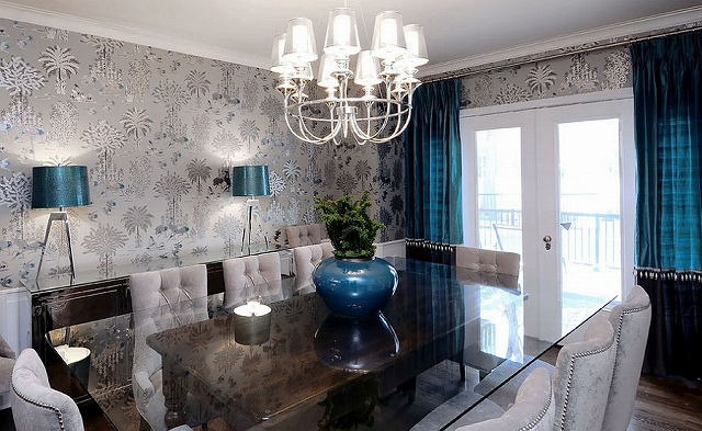 Refined-dining-room-with-gray-blacks-and-royal-blue-accents.jpg