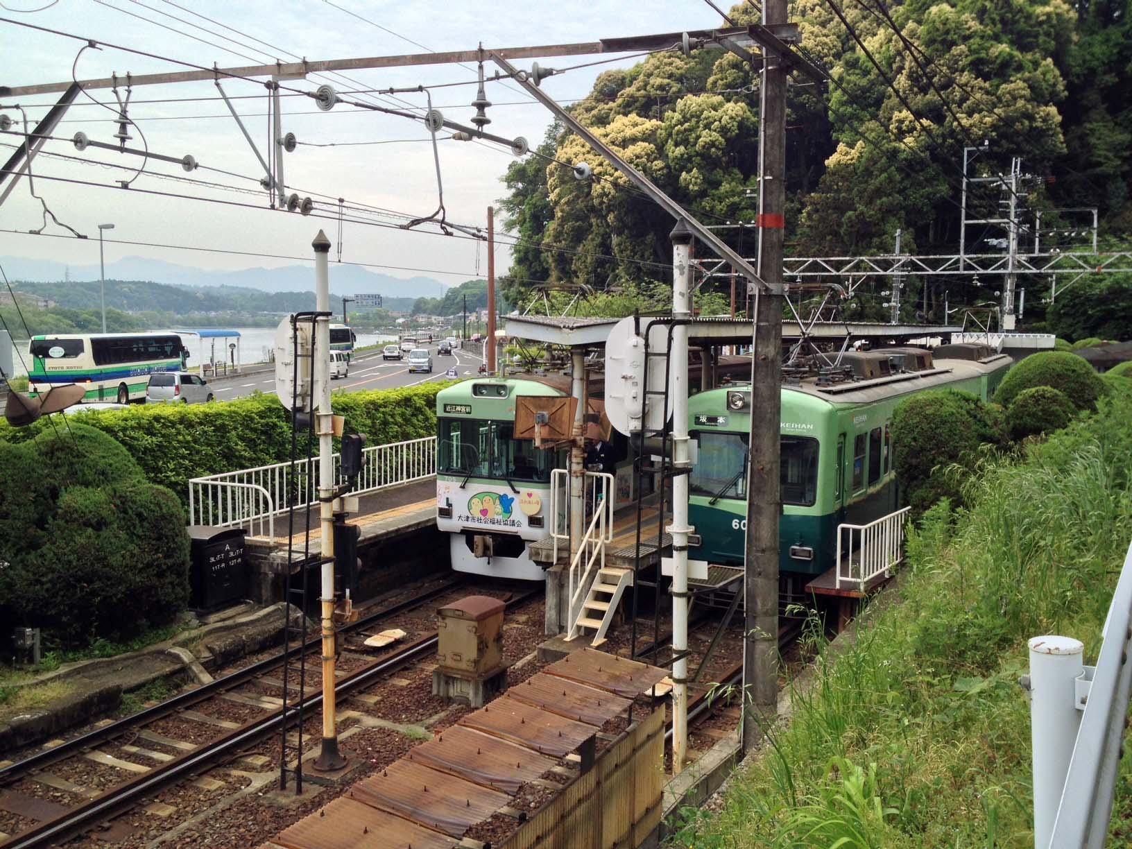 石山寺駅は終点の駅