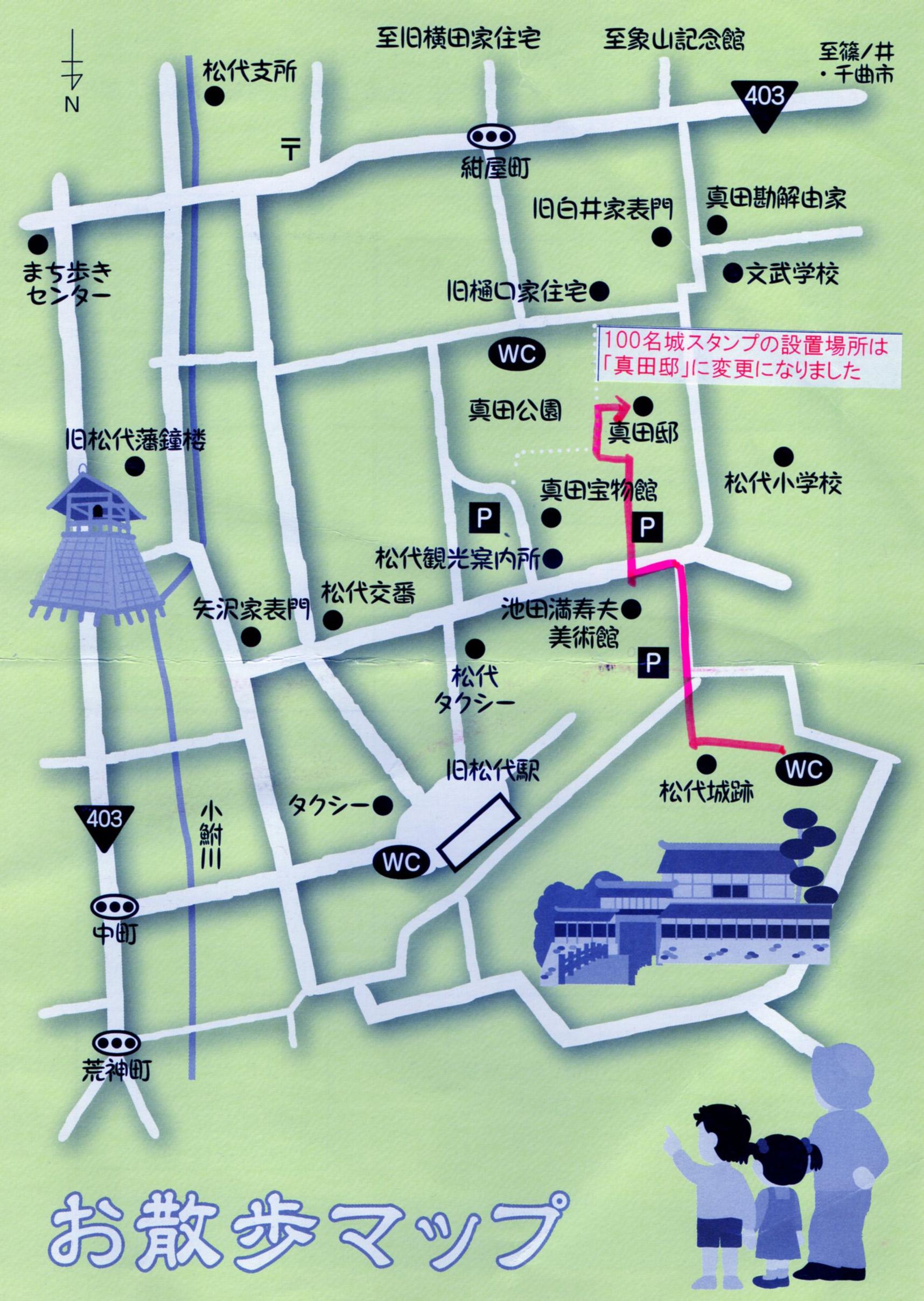 松代城のスタンプ移動