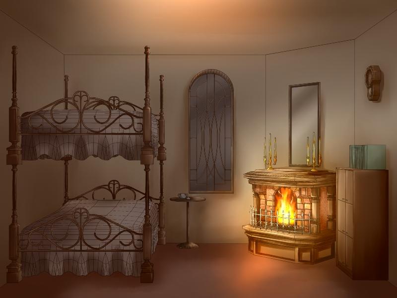 寮室内(夜)